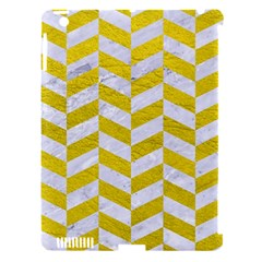 Chevron1 White Marble & Yellow Leather Apple Ipad 3/4 Hardshell Case (compatible With Smart Cover)