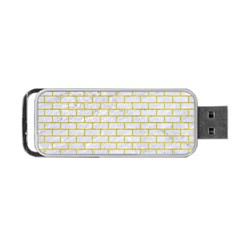 Brick1 White Marble & Yellow Leather (r) Portable Usb Flash (one Side)
