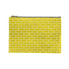 Brick1 White Marble & Yellow Leather Cosmetic Bag (large)