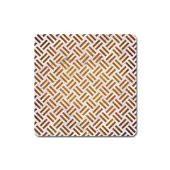 Woven2 White Marble & Yellow Grunge (r) Square Magnet