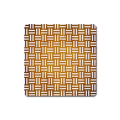 Woven1 White Marble & Yellow Grunge Square Magnet