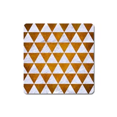 Triangle3 White Marble & Yellow Grunge Square Magnet
