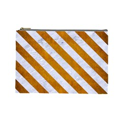 Stripes3 White Marble & Yellow Grunge Cosmetic Bag (large)