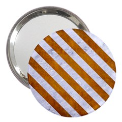 Stripes3 White Marble & Yellow Grunge 3  Handbag Mirrors