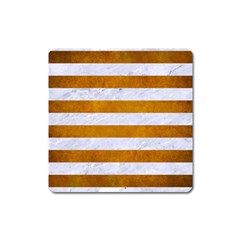 Stripes2white Marble & Yellow Grunge Square Magnet