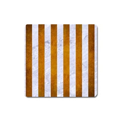 Stripes1 White Marble & Yellow Grunge Square Magnet