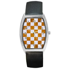 Square1 White Marble & Yellow Grunge Barrel Style Metal Watch
