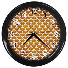 Scales3 White Marble & Yellow Grunge Wall Clocks (black)