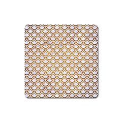 Scales2 White Marble & Yellow Grunge (r) Square Magnet
