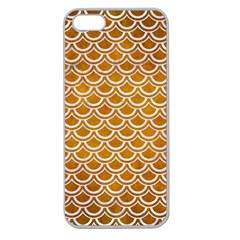 Scales2 White Marble & Yellow Grunge Apple Seamless Iphone 5 Case (clear)