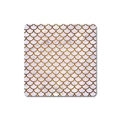 Scales1 White Marble & Yellow Grunge (r) Square Magnet