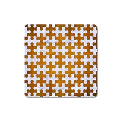 Puzzle1 White Marble & Yellow Grunge Square Magnet