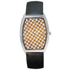 Houndstooth2 White Marble & Yellow Grunge Barrel Style Metal Watch