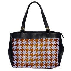 Houndstooth1 White Marble & Yellow Grunge Office Handbags