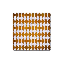 Diamond1 White Marble & Yellow Grunge Square Magnet