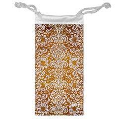 Damask2 White Marble & Yellow Grunge Jewelry Bag