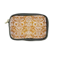 Damask2 White Marble & Yellow Grunge Coin Purse