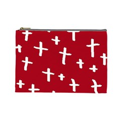 Red White Cross Cosmetic Bag (large)