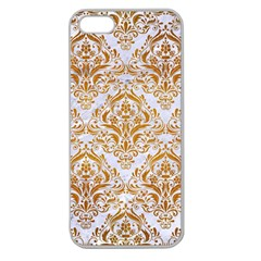 Damask1 White Marble & Yellow Grunge (r) Apple Seamless Iphone 5 Case (clear)