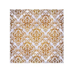 Damask1 White Marble & Yellow Grunge (r) Small Satin Scarf (square)