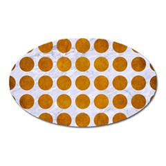 Circles1 White Marble & Yellow Grunge (r) Oval Magnet