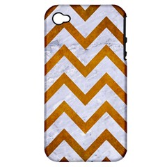 Chevron9 White Marble & Yellow Grunge (r) Apple Iphone 4/4s Hardshell Case (pc+silicone)