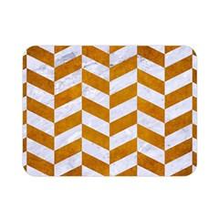 Chevron1 White Marble & Yellow Grunge Double Sided Flano Blanket (mini)