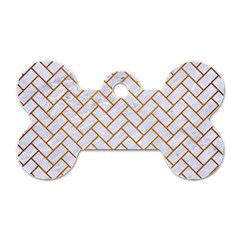 Brick2 White Marble & Yellow Grunge (r) Dog Tag Bone (two Sides)