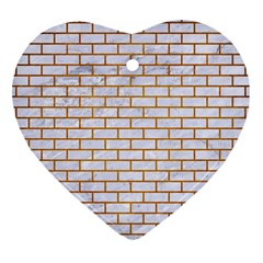 Brick1 White Marble & Yellow Grunge (r) Heart Ornament (two Sides)
