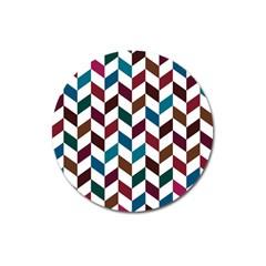 Zigzag Chevron Pattern Blue Brown Magnet 3  (round)
