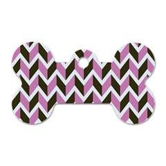 Zigzag Chevron Pattern Pink Brown Dog Tag Bone (two Sides)