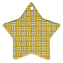 Woven1 White Marble & Yellow Denim Star Ornament (two Sides)