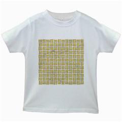 Woven1 White Marble & Yellow Denim (r) Kids White T Shirts