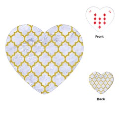 Tile1 White Marble & Yellow Denim (r) Playing Cards (heart)