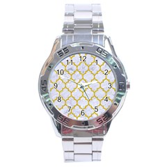 Tile1 White Marble & Yellow Denim (r) Stainless Steel Analogue Watch