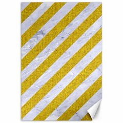 Stripes3 White Marble & Yellow Denim (r) Canvas 12  X 18