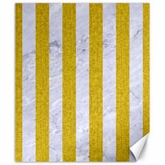 Stripes1 White Marble & Yellow Denim Canvas 20  X 24