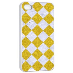 Square2 White Marble & Yellow Denim Apple Iphone 4/4s Seamless Case (white)
