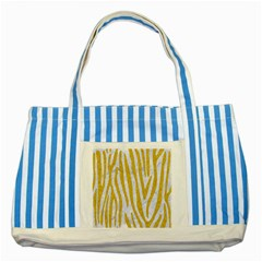 Skin4 White Marble & Yellow Denim Striped Blue Tote Bag