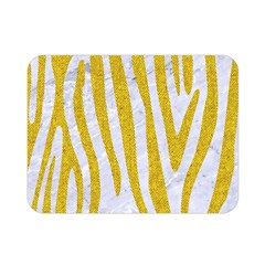 Skin4 White Marble & Yellow Denim Double Sided Flano Blanket (mini)