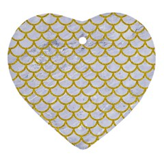Scales1 White Marble & Yellow Denim (r) Heart Ornament (two Sides)