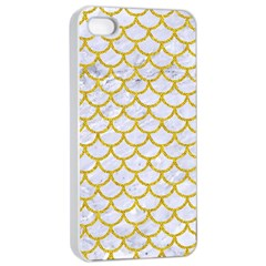 Scales1 White Marble & Yellow Denim (r) Apple Iphone 4/4s Seamless Case (white)