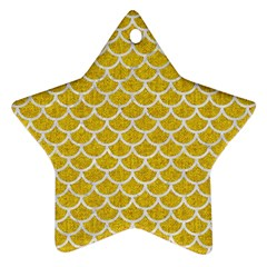 Scales1 White Marble & Yellow Denim Star Ornament (two Sides)