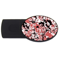 Textured Floral Collage Usb Flash Drive Oval (2 Gb)