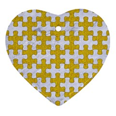 Puzzle1 White Marble & Yellow Denim Heart Ornament (two Sides)