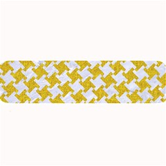 Houndstooth2 White Marble & Yellow Denim Large Bar Mats