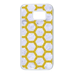 Hexagon2 White Marble & Yellow Denim (r) Samsung Galaxy S7 White Seamless Case