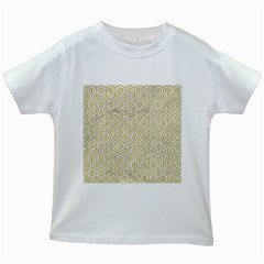 Hexagon1 White Marble & Yellow Denim (r) Kids White T Shirts