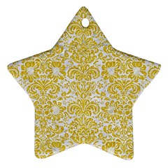 Damask2 White Marble & Yellow Denim (r) Star Ornament (two Sides)