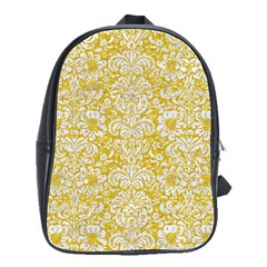 Damask2 White Marble & Yellow Denimhite Marble & Yellow Denim School Bag (large)